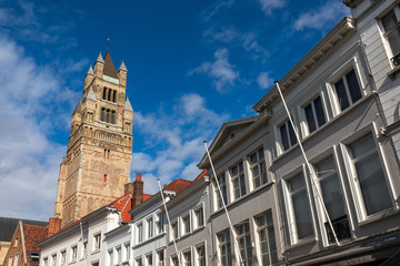 Printed roller blinds Bridges Old town houses and St. Salvator's Cathedral in Brugge, Belgium