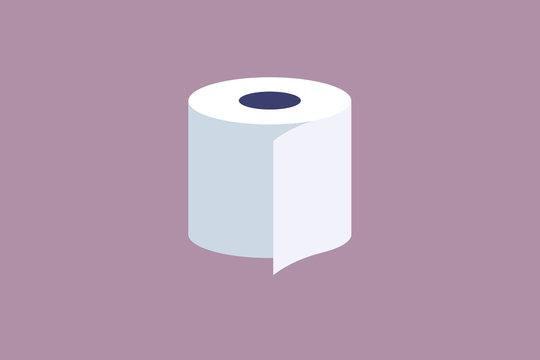 illustration of single white toilet paper roll