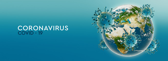 High resolution banner Coronavirus, infected world or earth. Dangerous asian ncov corona virus. Text on teal background. 3d rendering