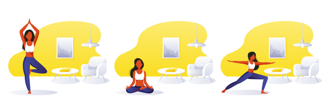 Home yoga exercise practice and meditation. Woman doing yoga in room. Vector illustrations. Girls set in different poses
