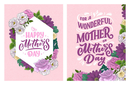 Mother's day lettering for Gift card. Vintage Typography, great design for any purposes. Modern calligraphy banner template. Celebration quote. Handwritten text postcard. Vector illustration