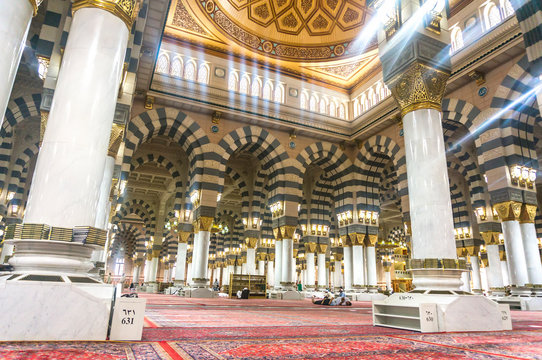 AL MADINAH, KINGDOM OF SAUDI ARABIA- MARCH, 06: One of the huge domes inside of Masjid (mosque) Nabawi on March 06, 2015 in Al Madinah, S. Arabia. Nabawi mosque is the 2nd holiest mosque in Islam..