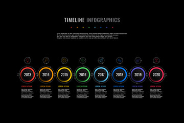 horizontal timeline infographic with round elements, year indication and text boxes on a black background. realistic 3d paper cut design. modern vector company presentation slide template. eps 10