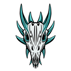 Imaginary Hand Drawn Animal Skull Carton Logo Illustration Vectors