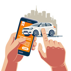 Photo sur Plexiglas Cartoon voitures Fast vehicle operations with a mobile application on the Internet. A white car is bought and sold in one touch on a smartphone.