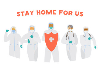 Doctors in protective overalls and masks with red shield ask to stay home. Coronavirus quarantine banner. Flat vector illustration. Wall mural