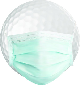 Golf ball in mask. Corona virus protection. Isolated on white background.