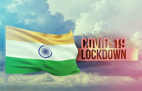 Coronavirus outbreak and coronaviruses influenza lockdown concept with flag of India. Pandemic 3D illustration.