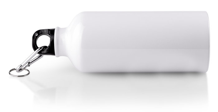 White empty stainless thermo water bottle close-up isolated on white background