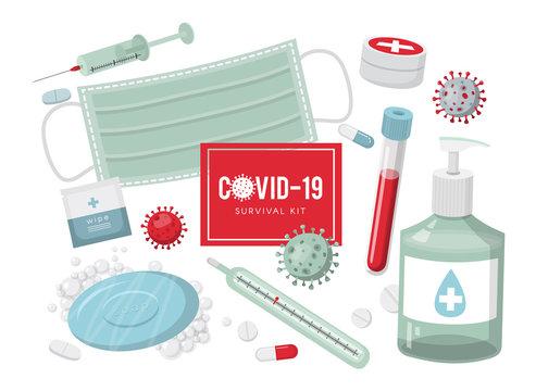 Virus disease survival kit necessary elements