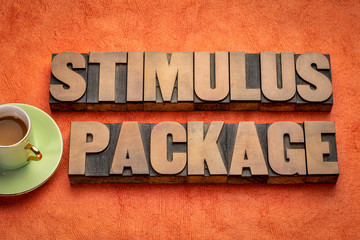 Tuinposter Europa stimulus package word abstract in wood type