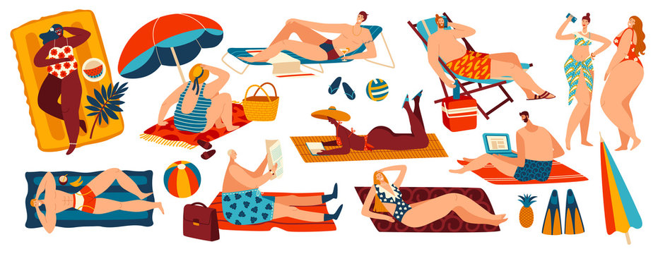 People relaxing on beach, set of body positive cartoon character isolated on white, vector illustration. Different men and women suntanning, summer leisure vacation, sunbathing people recreation beach