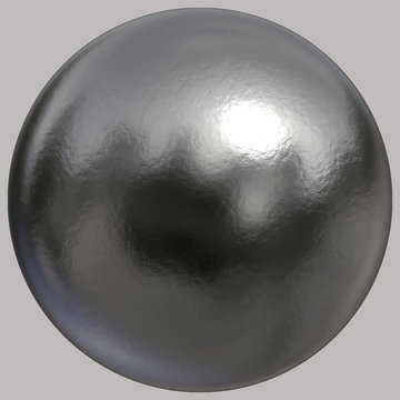 A 3D created solid textured silver sphere on grey
