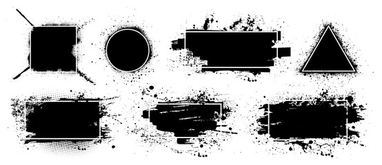 Fotobehang - Dirty artistic design elements boxes with frames for text, logo, back element. Vector splashes grunge with frame, isolated on white background. Set of black paint, ink brush strokes, brushes, lines
