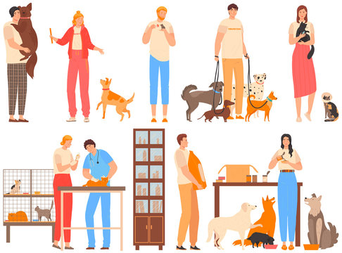 Volunteers in animal shelter, people take care of animals, dogs and cats rehabilitation center, vector illustration. Man and woman cartoon character volunteering and help animal. Pet shelter volunteer