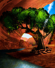 Spoed Fotobehang Bruin Cave in the desert with a lake tree and an oasis