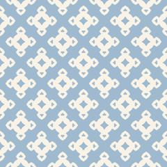 Vector ornamental floral seamless pattern. Light blue and white geometric background with small flower figures, diamond shapes, repeat tiles. Abstract ornament texture. Vintage design for decor, print
