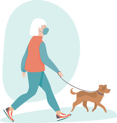 Senior woman wearing protective medical mask walking with her dog