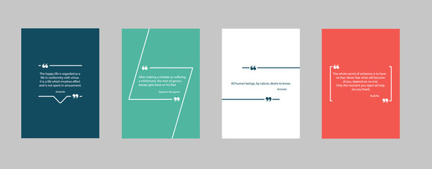 Quote frames bubble blank templates for your text set. Vector square and circle background design for citation. Empty speech bubbles, quotation blank abstract set with modern shapes.Information poster