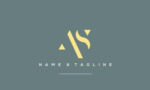 Alphabet letter icon logo AS