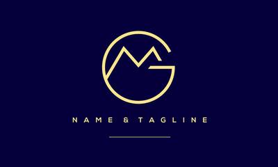 Fototapeta Alphabet letter icon logo GM or MG obraz