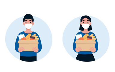 People volunteer in a protective medical mask hold big box of foods. 2019-nCoV. Ncov, covid 2019, Coronovirus concept. Novel coronavirus pandemic. Flat vector cartoon modern design illustration. Wall mural