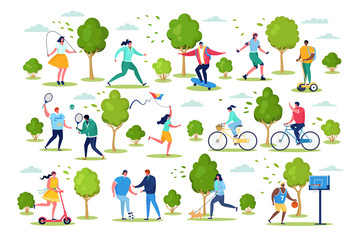 People in sport outdoor activity vector illustration. Cartoon active flat woman man characters have fun from sporting healthy lifestyle, cycling, do sport exercises in city park set isolated on white Papier Peint