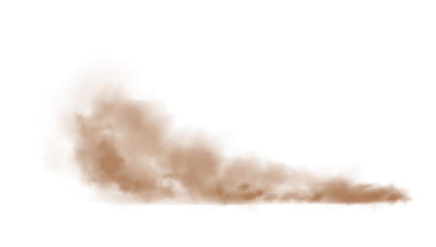 Vector Illustration of brown dust plume cloud on a white background with copy space.