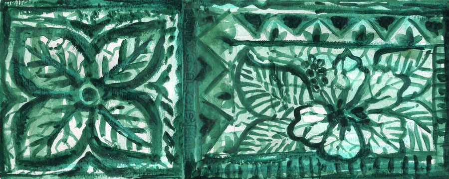 Tapestry teal green pattern Ethnic and tribal motifs Grunge texture Print for your textiles watercolor illustration
