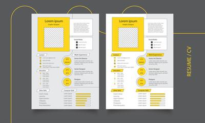 Modern curriculum vitae - yellow and white resume/ cv template