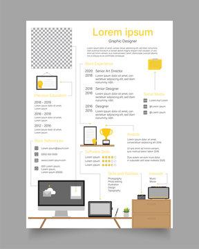 CV / resume template - workspace concept Vector illustration
