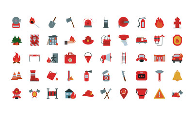 Fire and emergency flat style icon set vector design