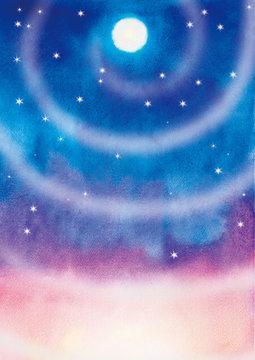 宇宙のイメージ 水彩イラスト