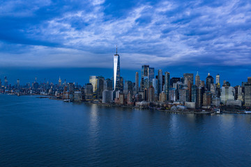 Foto op Aluminium Shanghai Aerial photograph of the New York Manhattan showing the Hudson Rivers, Manhattan financial District