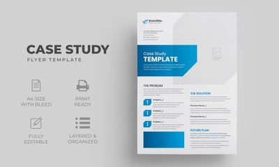 Case Study Template | Business Case Study Layout with blue elements