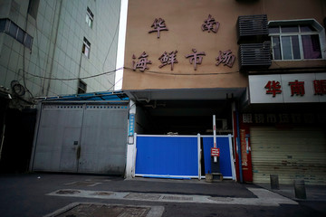 A blocked entrance to Huanan seafood market is seen in Wuhan