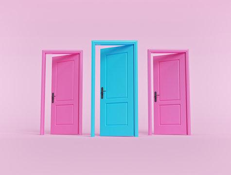 creative minimal style design. three open doors on pastel pink background. 3d rendering