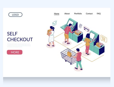 Self checkout vector website landing page design template