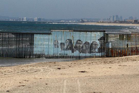 An empty beach near the Mexico-U.S. border fence is seen, in Tijuana