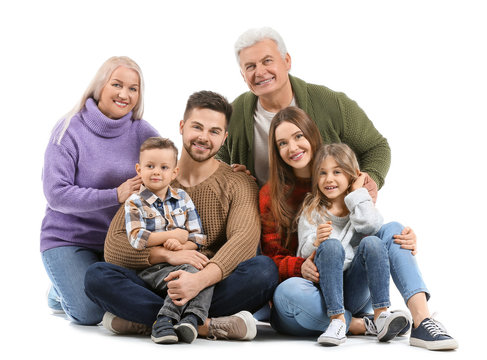 Portrait of big family on white background
