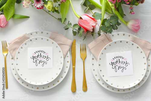 Beautiful table setting for Mother's day dinner