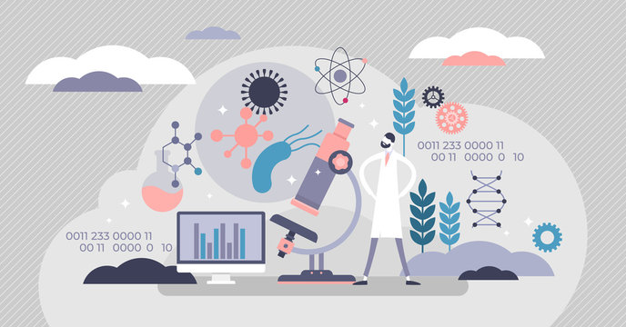 Synthetic biology concept, flat tiny persons vector illustration