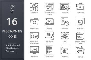Programming line icons set. Black vector illustration. Editable stroke.