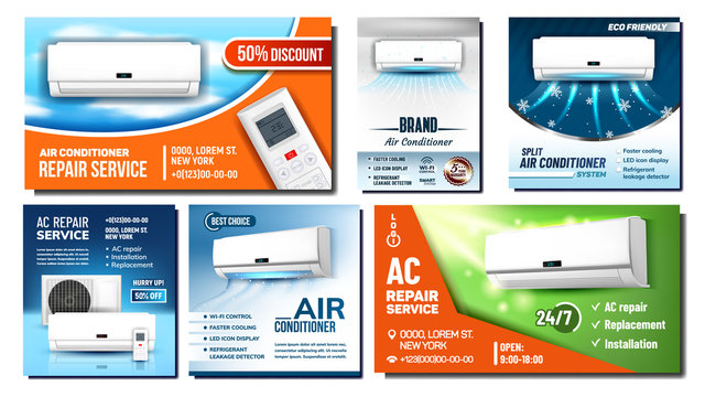 Air Conditioner Advertising Posters Set Vector. Different Promo Banners With External And Room Block Of Conditioner And Remote Controlling Tool. Climate Equipment Template Realistic 3d Illustrations