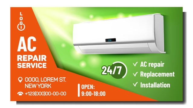 Air Conditioner Repair Service Promo Poster Vector. Ac Conditioner System Repair And Fix, Installation And Replacement. Climate System Equipment Marketing Layout Realistic 3d Illustration