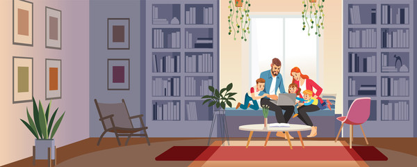 Home schooling concept. Family at home with tutor or parent getting education at home. Big family conversation via video conference in home library looking at laptop. Cartoon vector illustration Papier Peint