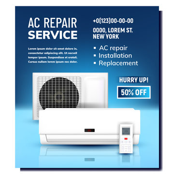 Air Conditioner Repair Service Promo Banner Vector. Ac System Repair, Installation And Replacement. Remote Control External And Indoor Block. Climatic Technology Template Realistic 3d Illustration