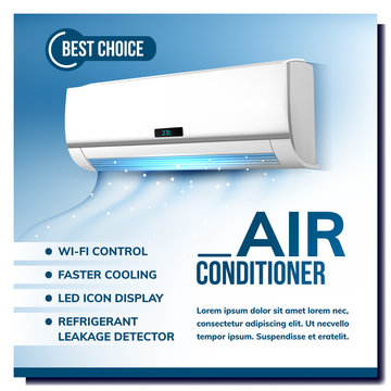 Air Conditioner System Advertising Poster Vector. Conditioner With Wi-fi Control, Faster Cooling, Led Icon Display And Refrigerant Leakage Detector. Climate Device Template Realistic 3d Illustration
