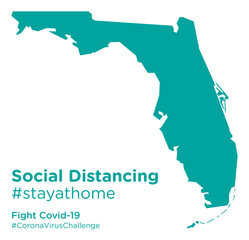 Florida state map with Social Distancing stayathome tag
