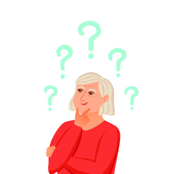 Old woman thinking with question marks. Vector illustration